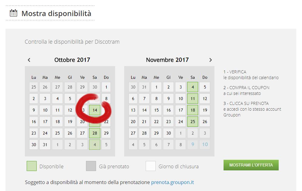 groupon disponibilita 14 ottobre