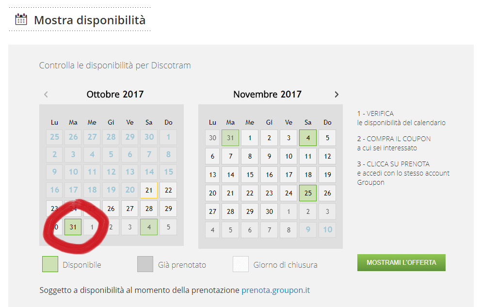 groupon disponibilita festa halloween 31 ottobre